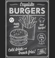 grunge chalkboard fast food menu template vector image