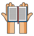 hands reader with text book vector image