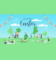 happy easter card funny people at spring park vector image