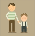happy father and son smiling and holding vector image