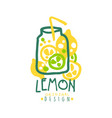 lemon logo template original design colorful hand vector image vector image