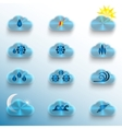 Light Blue Clouds with Weather Signs vector image vector image