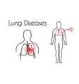 lung diseases linear icon young man vector image