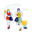 male and female sports characters plogging concept vector image