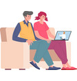 married young couple with laptop on family vector image vector image