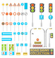 mega collection of road signs road elements with vector image vector image