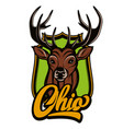 ohio calligraphic lettering with deer head vector image vector image