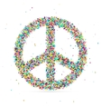 peace symbol consisting of colored particles vector image vector image