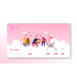 people in love on winter season landing page vector image vector image