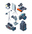 photo video cameras various equipment of video or vector image vector image