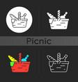 picnic basket dark theme icon vector image vector image