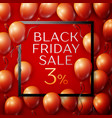 red balloons with black friday sale three vector image vector image