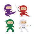 set cartoon colored ninjas with katana vector image