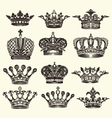 set of vintage royal crown vector image vector image