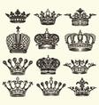set vintage royal crown vector image