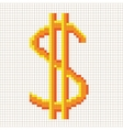 Sign pixel dollar gold in grid 307 vector image vector image