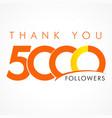 thank you 5000 followers logo concept vector image vector image