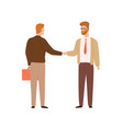 two businessman shaking hands making deal vector image vector image
