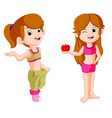 two girl diet holding apple vector image vector image