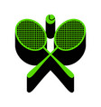 two tennis racket with ball sign green 3d vector image vector image