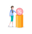 woman with stack gold and percent sign isolated vector image vector image