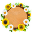 wooden board with flowers vector image vector image