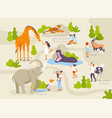 zoo park with funny animals and people interacting vector image