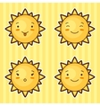 Set of kawaii suns with different facial vector image