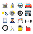 car service icons set different parts of vector image