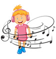 Happy girl listen to music by headphone vector image