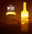 Wine bottle with the landscape of Tuscany vector image