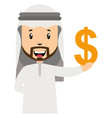 arab with dollar sign on white background vector image vector image