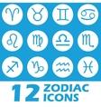 Blue zodiac icons set vector image