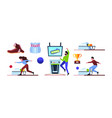 bowling collection sport equipment for active vector image