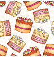 cakes seamless pattern pastry and vector image