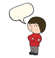 cartoon boy with folded arms with speech bubble vector image vector image
