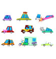 cartoon car comic minicar and broken vector image vector image
