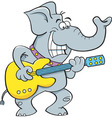 Cartoon elephant playing a guitar vector image