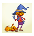Cartoon pumpkin scarecrow Halloween vector image