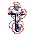 christian cross with blackthorn thorn religion vector image