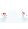 christmas snowmans playing in snowball vector image vector image