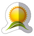 color sticker with sun over green hill vector image vector image