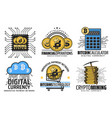 cryptocurrency mining blockchain technology vector image