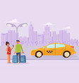 family couple order a taxi vector image vector image