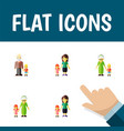 flat icon family set of grandchild grandson vector image