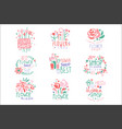 flower shop set logo templates colorful hand vector image vector image