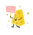 funny cute cheese character keto diet lover vector image