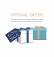 gift boxes on white background sale discount vector image