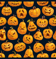 halloween holiday cartoon pumpkin seamless pattern vector image
