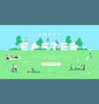 happy easter web background people in park vector image